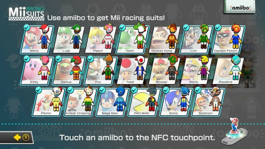 Mario Kart 8, for example, has a selection of unlockable suits for your Mii racer. One tap and it's unlocked forever.
