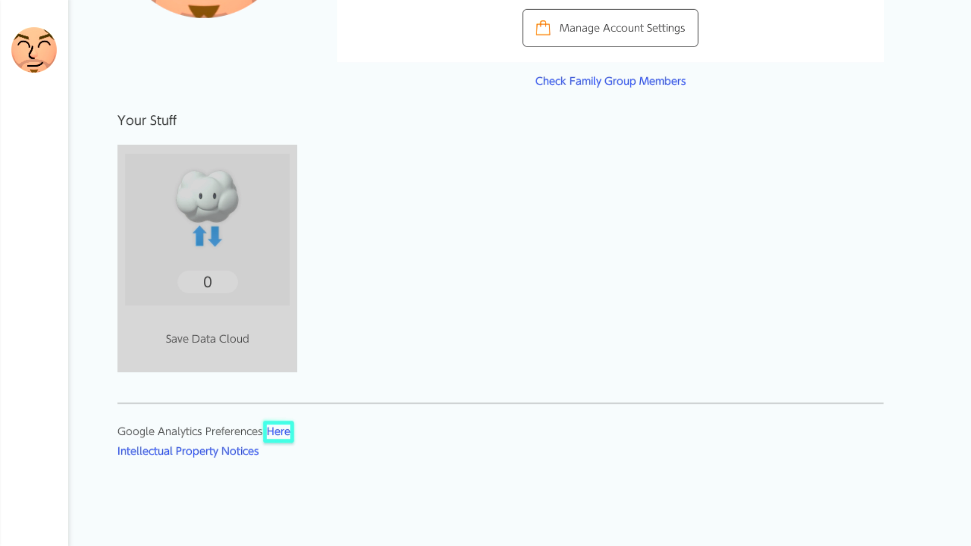 Nintendo Switch Online Applet Google Analytics Settings