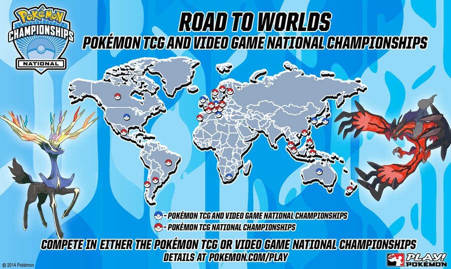 Map of Pokémon National Championships