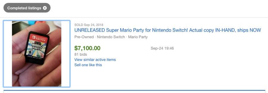 The finished eBay auction