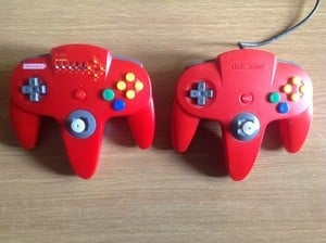 A side-by-side comparison with the original N64 controller
