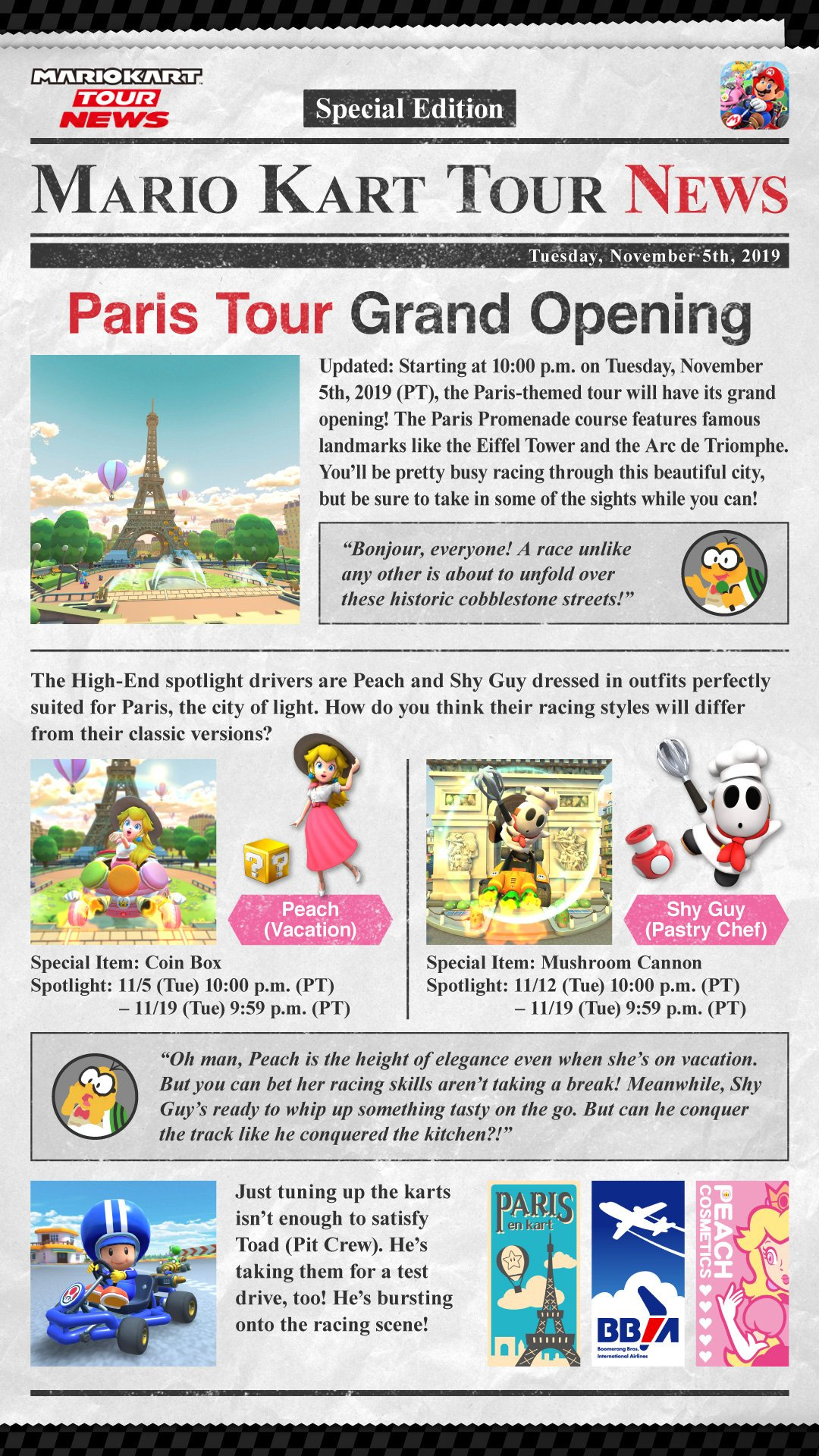 Mario Kart Tour S Next Stop Is Paris Complete With Vacation Peach