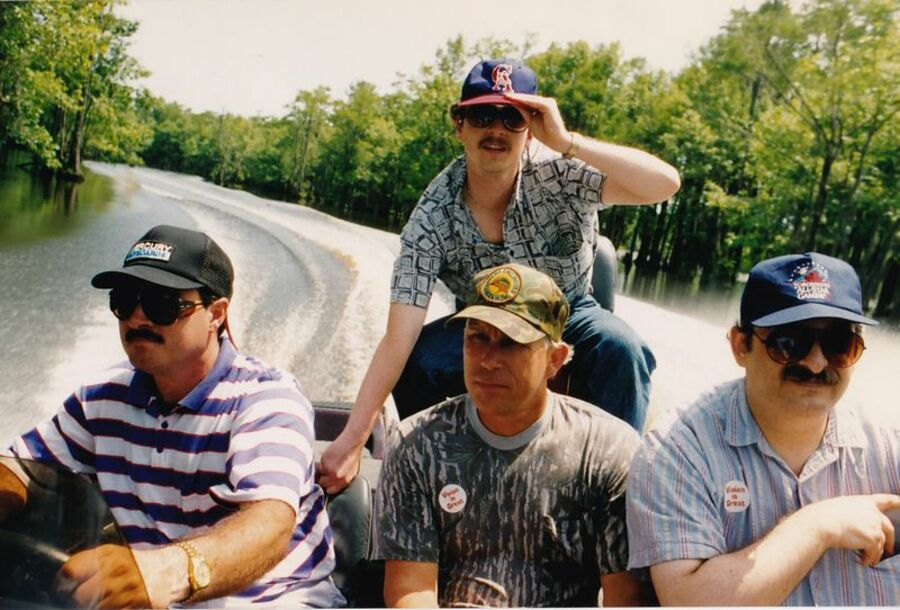 The dev team scouting for footage: Boat Driver, Location Scout, Main Artist (back row), Howard Greenspan
