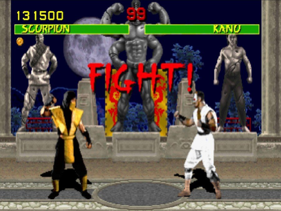 The arcade version of Mortal Kombat boasted characters based on actual people, rather than hand-drawn sprites, following in the footsteps of Atari's 1990 release Pit-Fighter