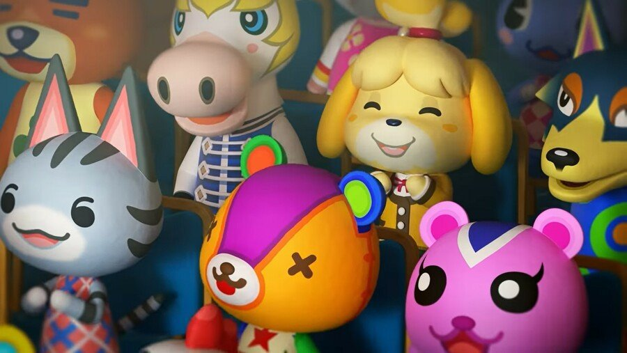 Animal Crossing characters sitting in an audience