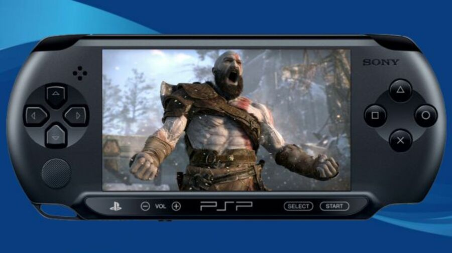 A mock-up of a PlayStation Portable playing this year's God of War