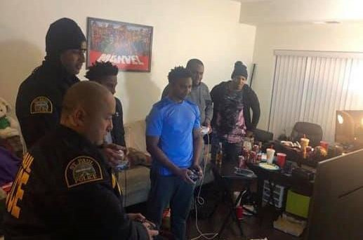 Police responding to a noise complaint join in for some Smash instead