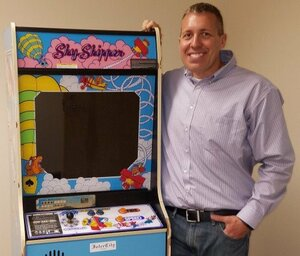 Whitney Roberts with the only Sky Skipper cabinet ever made