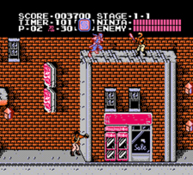 Ninja action in Ninja Gaiden.