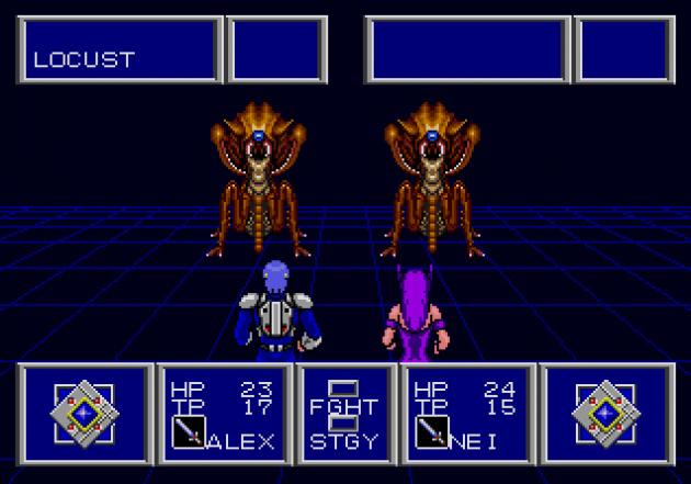 A traditional RPG battle in Phantasy Star II.