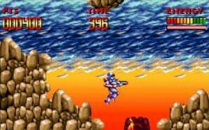 Run and gun platforming action in Super Turrican.