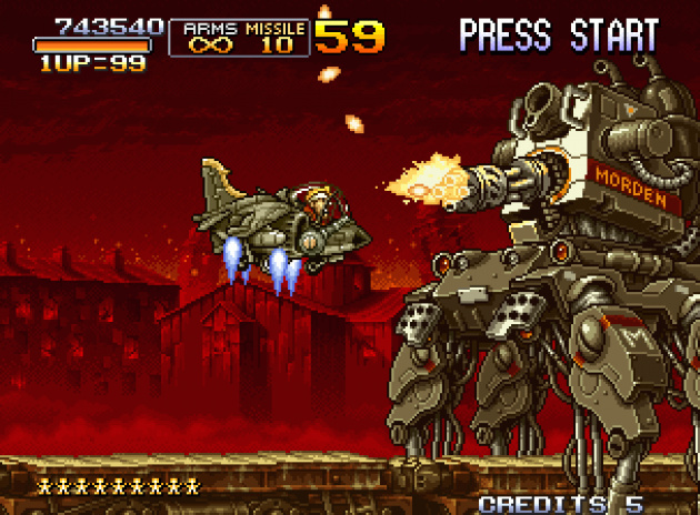 Shooting down big bosses in Metal Slug 2