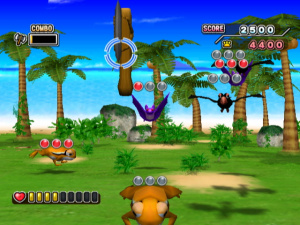 Shoot-em-up action in a Adventure Island mini-game