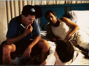 Director Holland chews the fat with Slater and Bridges during the amusing motel scene