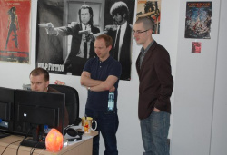 Sebastian Szczygiel and James check out early designs