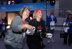 Shawn Johnson, right, and her Mum, really enjoying themselves