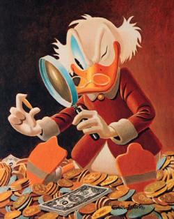 Scrooge McDuck at Nintendo's money vault, yesterday