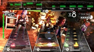 """Yes, the horizontal measures look different [from Rock Band's, above] and may throw players off a bit at first, but this is a new game and it's a new kind of challenge."""