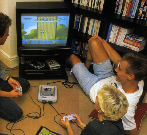 Members of the Super Play team indulging in a spot of SNES-related tomfoolery