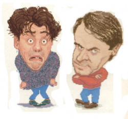 Andy and Steve in digitised cartoon form
