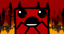 Meat Boy contemplates the 40MB file size limit