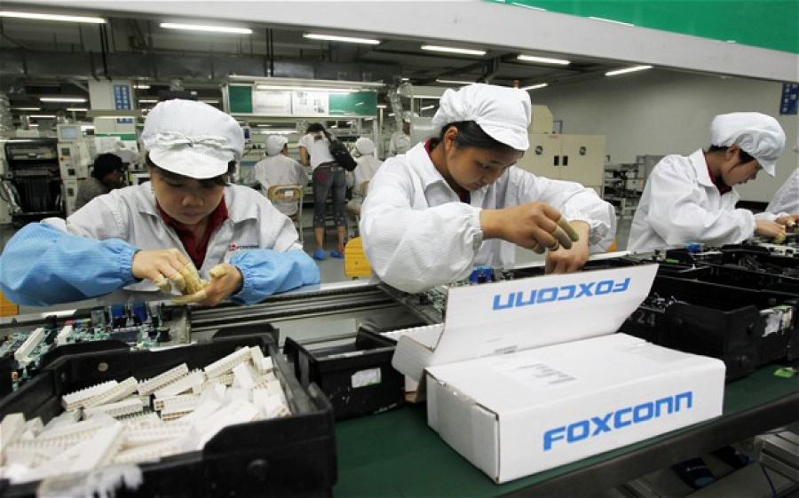 Foxconn employees at work