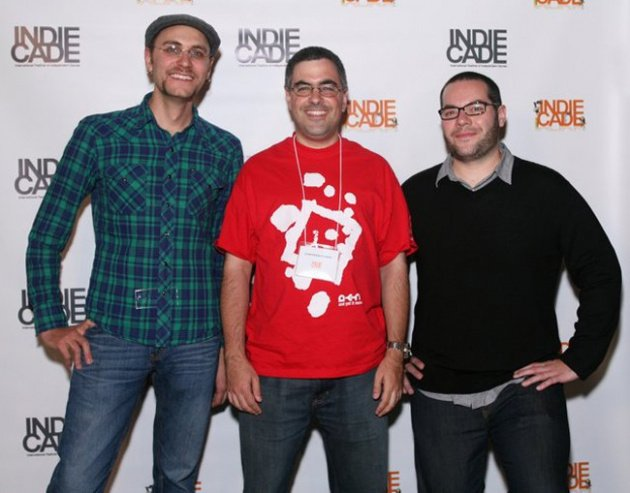 Dan in the middle sporting a rather fetching And Yet It Moves t-shirt. With Alex Neuse and Mike Roush from Gaijin Games