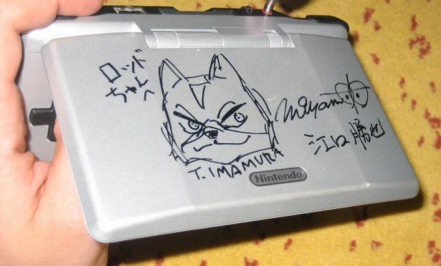 Rhodri's DS console is signed by Miyamoto, Imamura and Eguchi