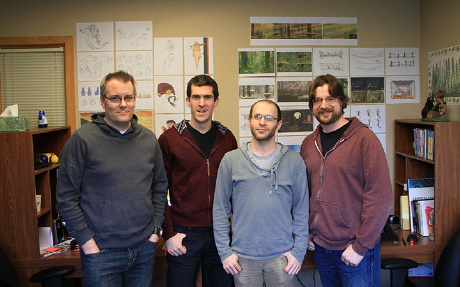 Buddy & Me Team, from left to right: Andrew Brinkworth (Character Illustrator, Animator), Brennan McQuerry (Lead Programmer), Gene Lange (Background Concept, Painter) and Jason Behr (President, Creative Director)