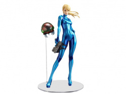 Samus poses in her Zero Suit
