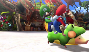 Where else can you ride a pig with Mario and Luigi cats?