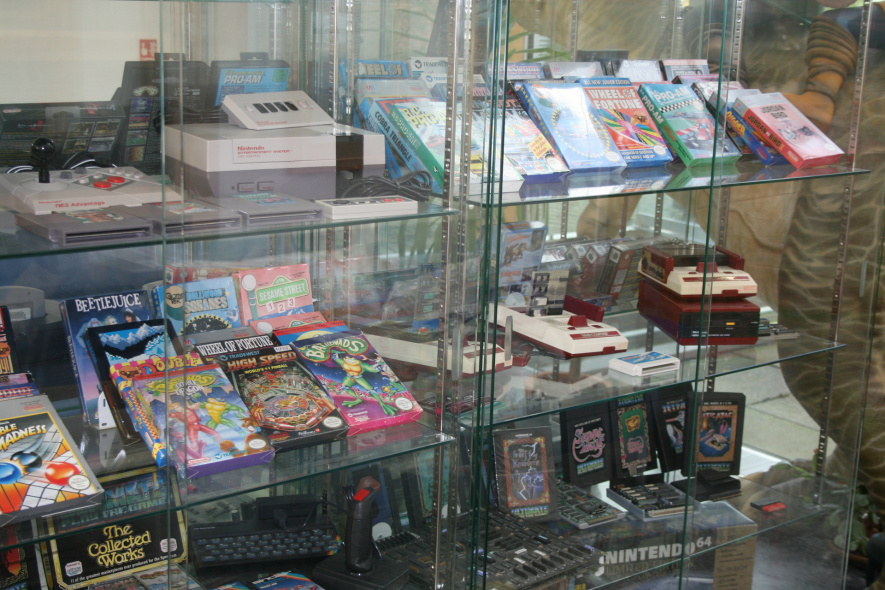 This cabinet at Rare's HQ contains titles from the company's history, plus some NES and Famicom systems