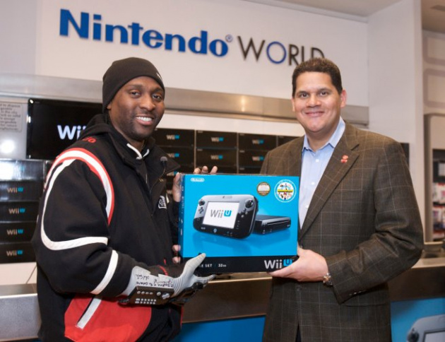 TriForce Johnson with Reggie at the Wii U launch