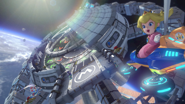 Princess Peach checks out Rainbow Road's outer space base