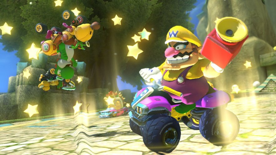 Wario shows off his Super Horn