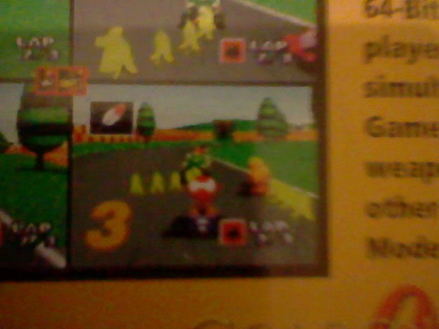 Mario Kart 64 feather (back of box close up) match accordingly with feature