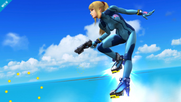 "Zero Suit Samus with her ""jet boots"" in Super Smash Bros. for Wii U"