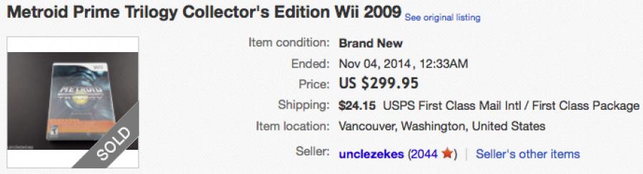 eBay US - Metroid Prime Trilogy - $299.95