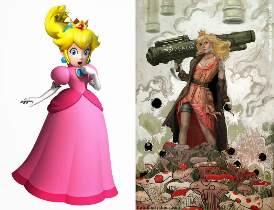 """Princess Peach (Super Mario Bros.) redesigned by Kirbi Fagan - """"Who needs saving now Mario?"""""""