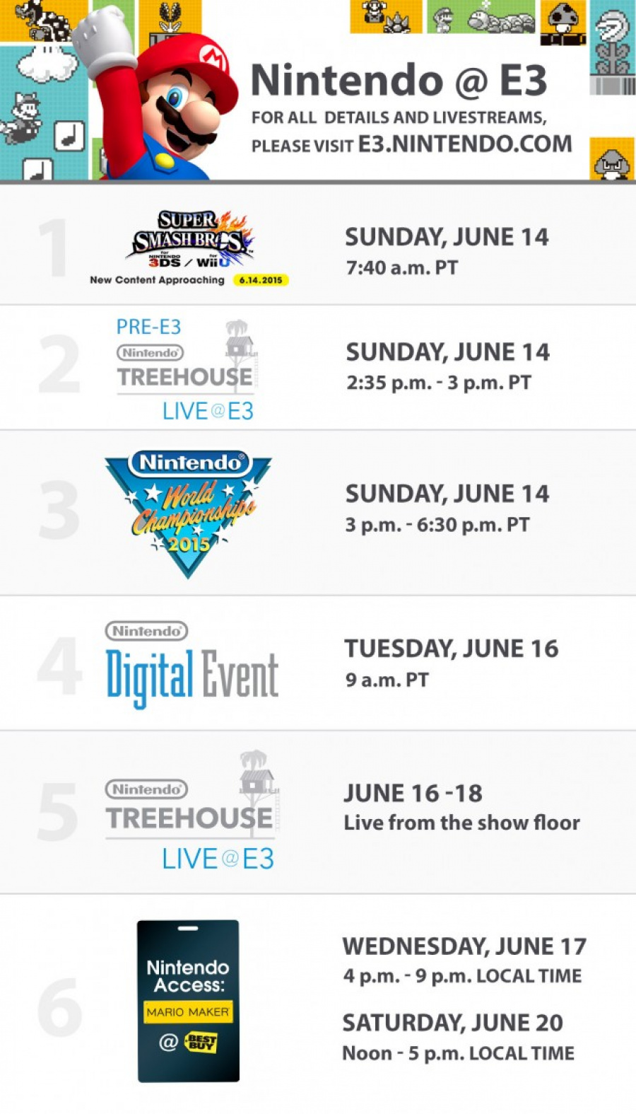 Nintendo E3 2015 Schedule 656 X1148