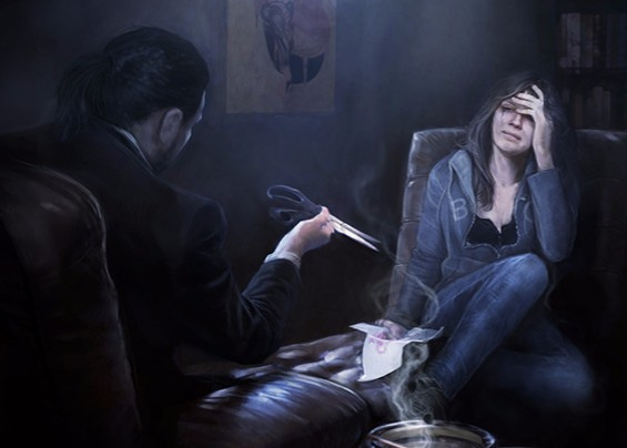 Silent Hill: Cold Heart concept art showing Jessica and Dr Fairchild