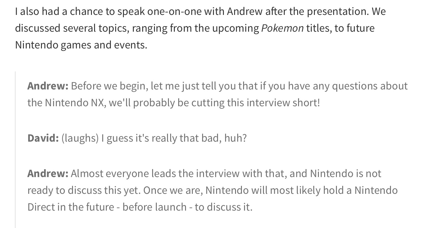 Nintendo nixing NX talk