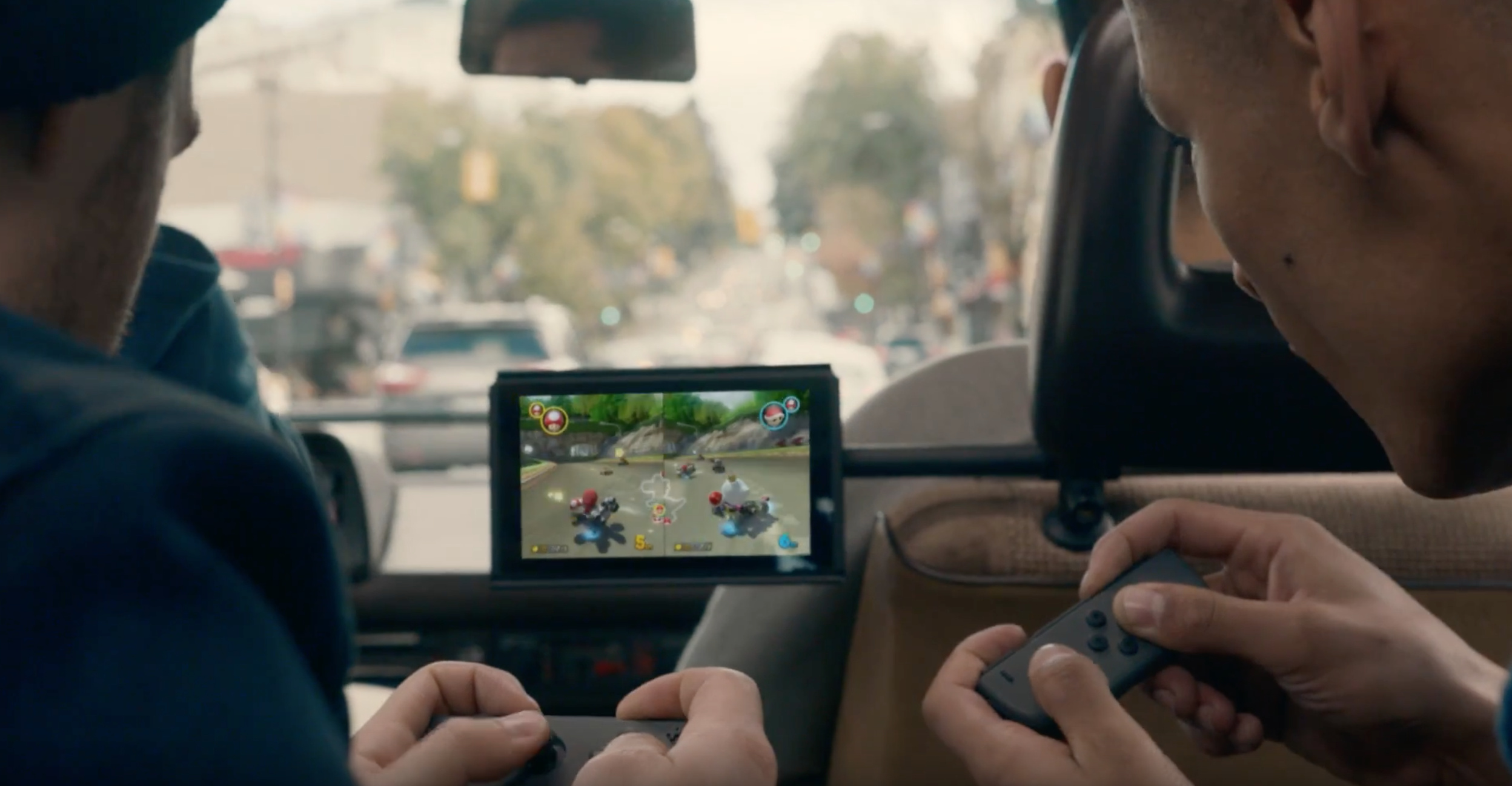 Sadly we didn't have Mario Kart 8 Deluxe, or the weird bracket, or anyone else in the back seat of the car