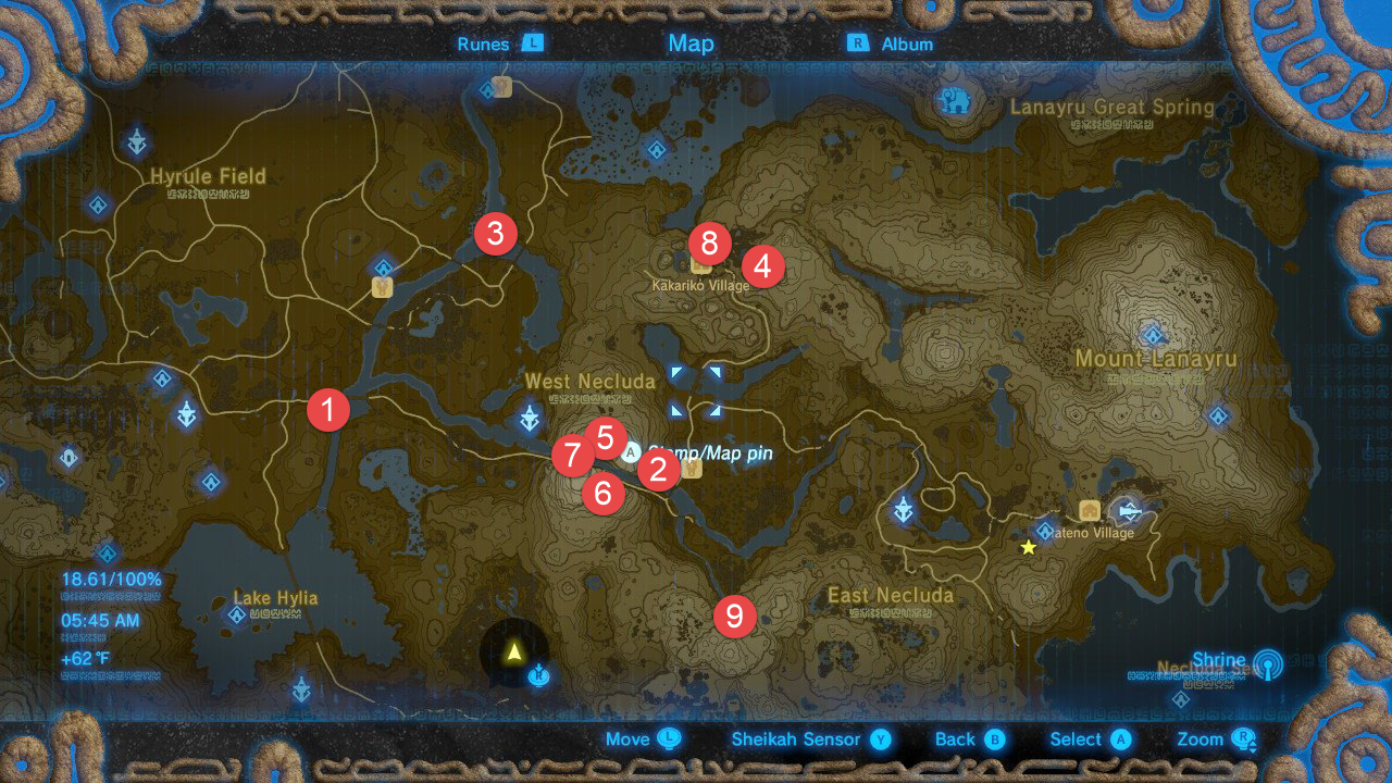 The Legend Zelda Breath The Wild All Shrine Locations
