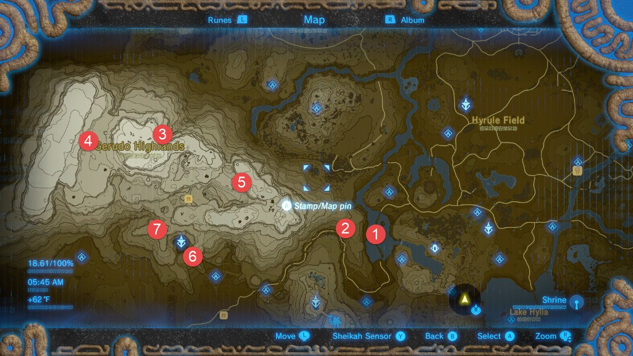 image about Printable Korok Seed Map titled Zelda: Breath Of The Wild All Shrine Spots Walkthrough