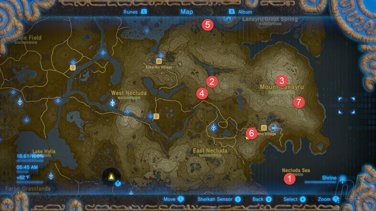 Zelda: Breath Of The Wild All Shrine Locations Walkthrough And Map