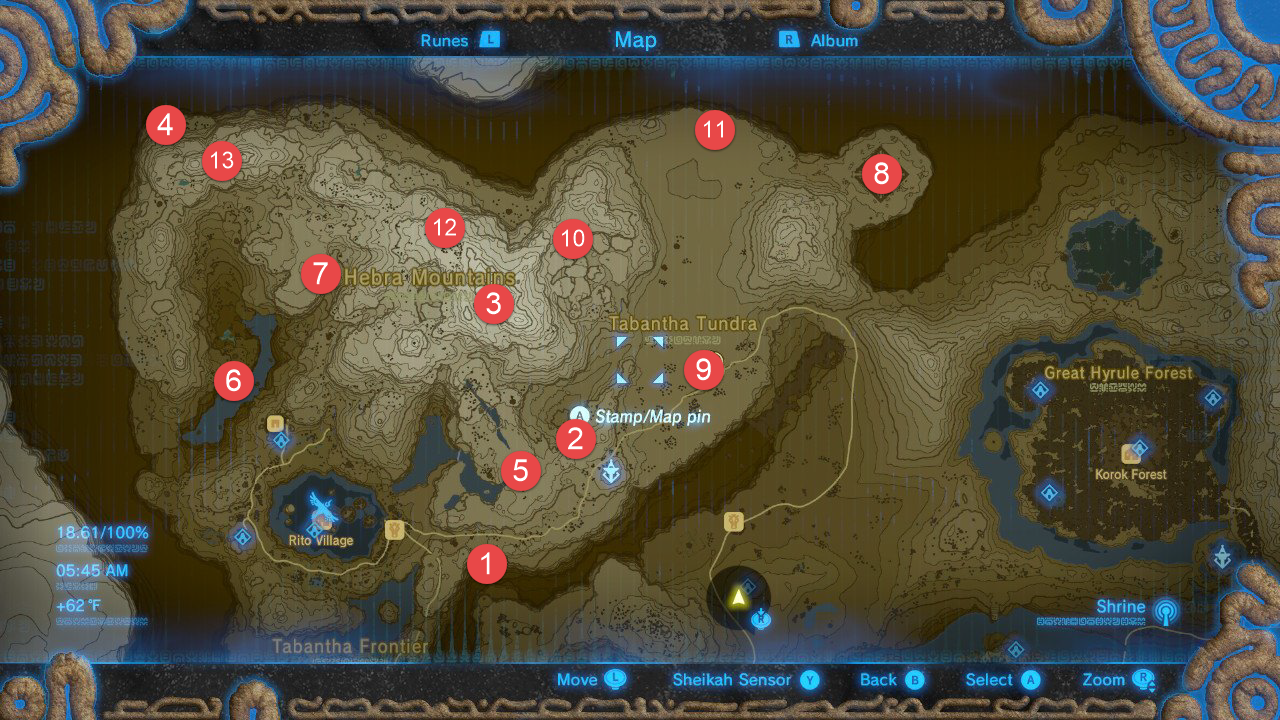 Hebra Mountains Tower Map
