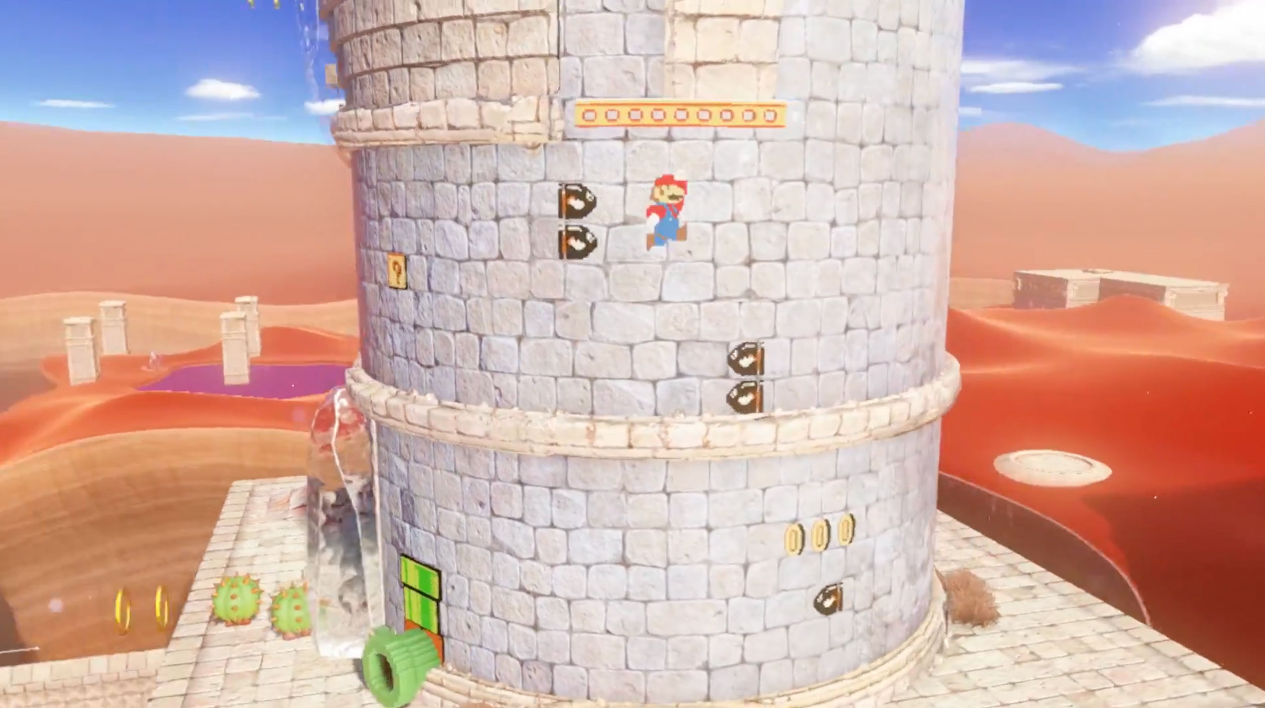 Super Mario Odyssey Features 2d Wall Merging Gameplay Like