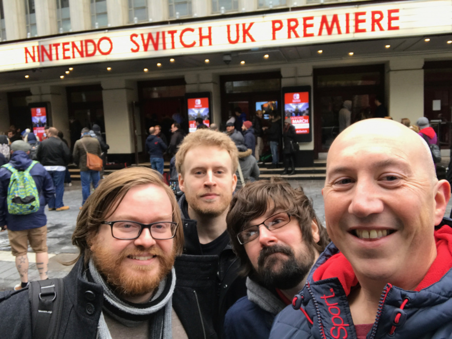 Braving the British winter to play Switch for the first time.