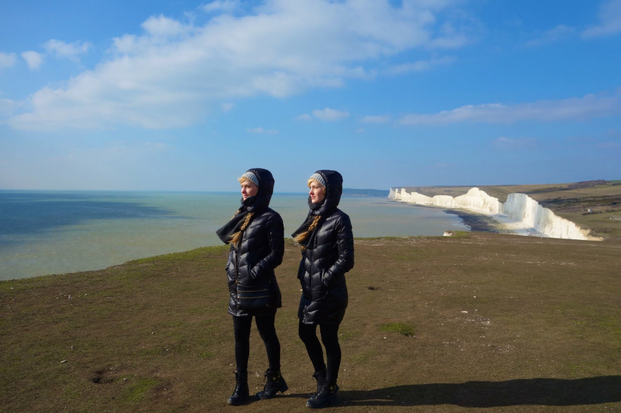 The Harp Twins managed to get some time for sightseeing at Seven Sisters Cliffs in Eastbourne, UK